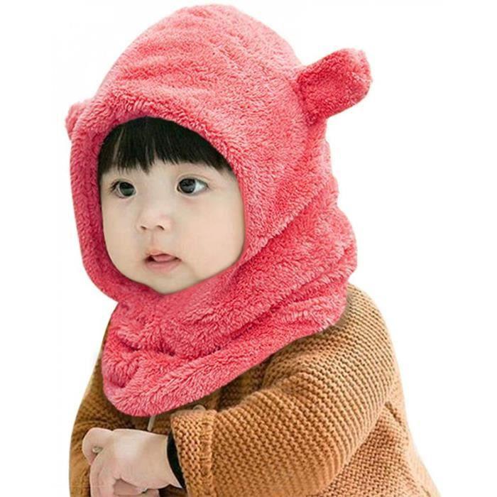 No 1-Cagoule Bébé Fille Garçon Bonnet Cache Cou Bébé Cagoule Polaire Bébé Bonnet Écharpe Cache Oreilles Cagoule Chaud Et Épais