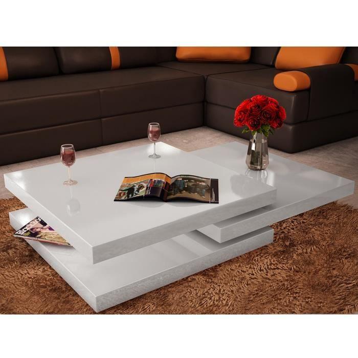 P152 Table basse blanc laque carree pivotante 3 plateaux
