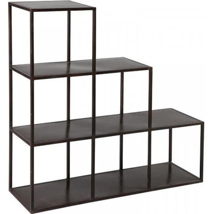 Étagères escalier en acier noir - BYXO - Noir - Métal - L 104 x l 35 x H 105 cm - Etagere