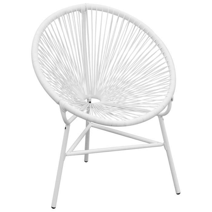 Chaise de jardin en corde forme de lune Résine tressée Blanc☀8365