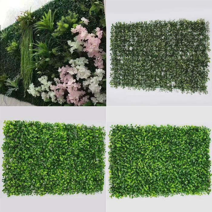 Haie artificielle en boîte 60x40cm, Faux tapis de lierre mural vert, clôture pour mur de jardin, ivy fence, green fenceivy fake