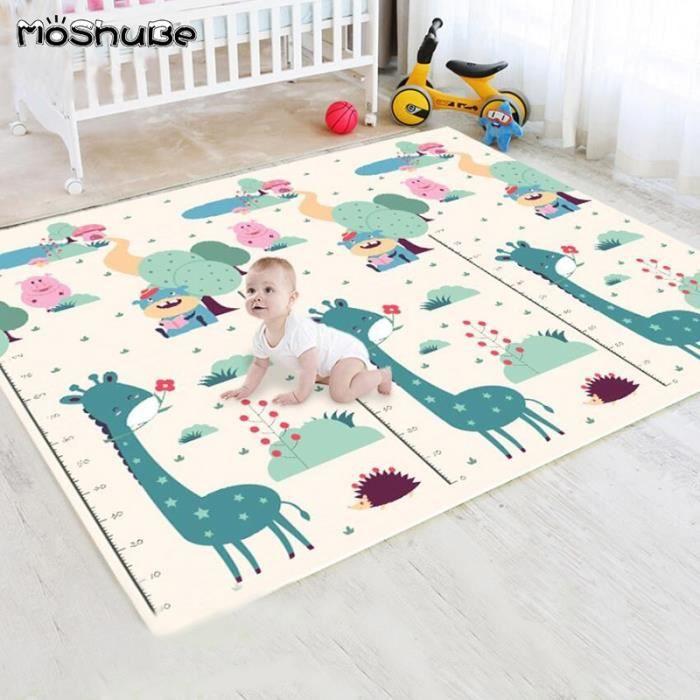 Tapis d'éveil,Tapis de jeu épais pour bébé tapis de sol souple pour enfants girafee escalade Double face - Type 200cmX180cmX1cm