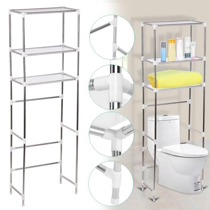 Meuble de toilette / Colonne de toilette / Meuble WC 3 rangées étagère de salle de bains