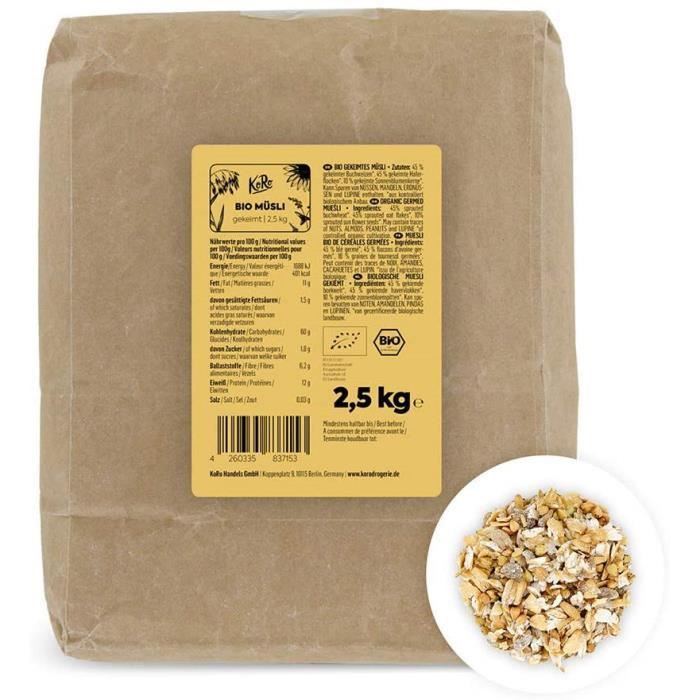 Muesli bio de céréales germées 2,5 kg Sans additifs issus à 100 % de l'agriculture biologique 192