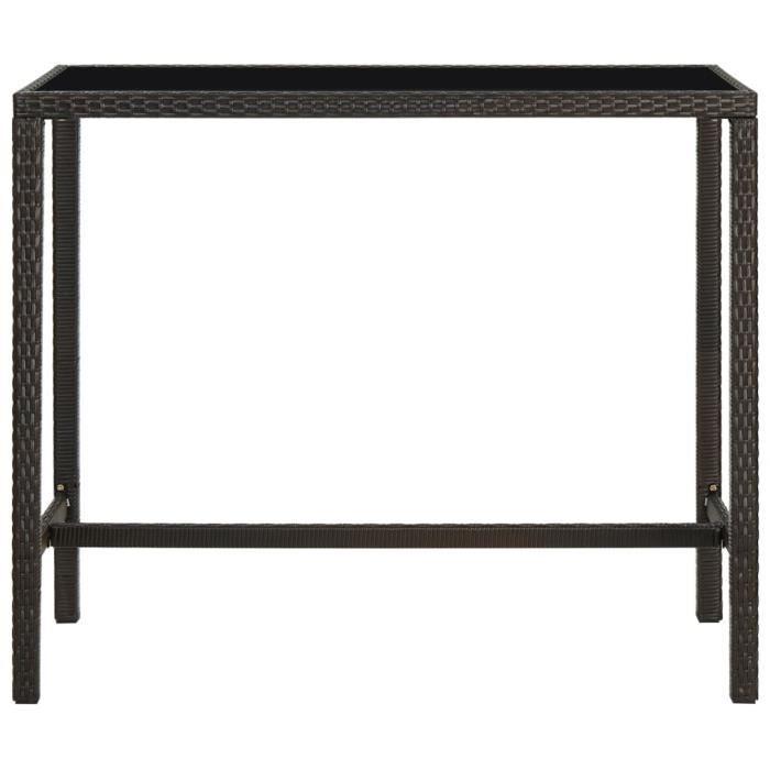 Le meilleur* -849797- Table de bar de jardin - Table haute Mange-Debout Marron 130x60x110cm Résine tressée verre