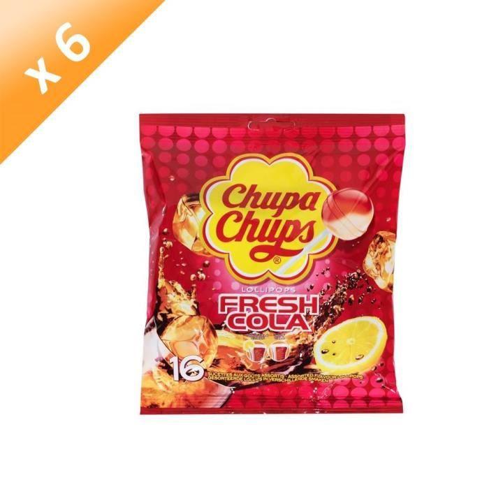 [LOT DE 6] CHUPA CHUPS Sucettes Lollipops Fresh Cola, goûts assortis - 192 g