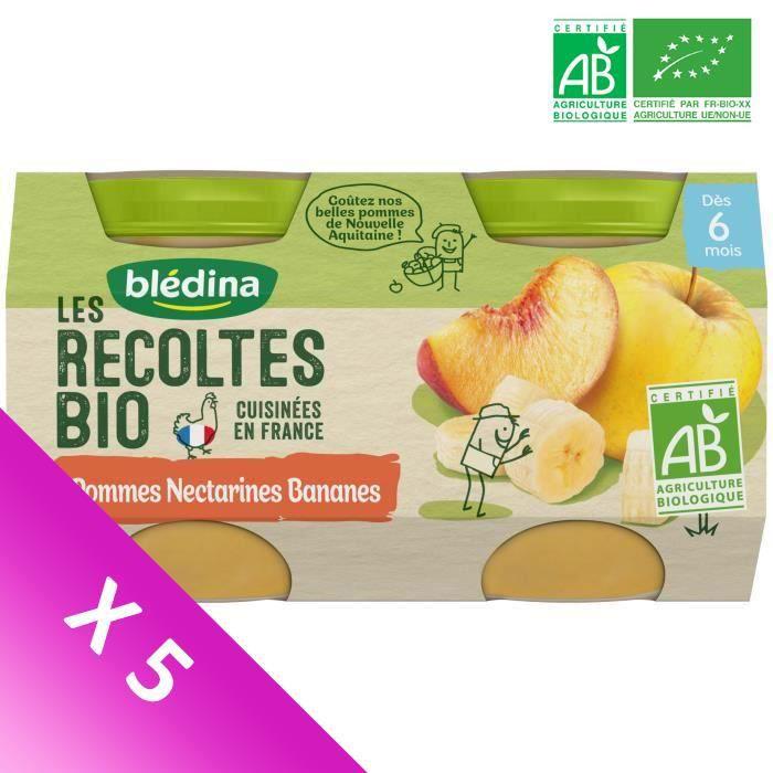 Blédina Les Récoltes Bio, Petits pots pour bébé bio - Dès 6 mois - Pommes Nectarines Bananes - Lot de 5 x 260 g