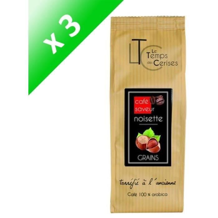 [LOT DE 3] LE TEMPS DES CERISES Café Saveur Noisette 250g Grain