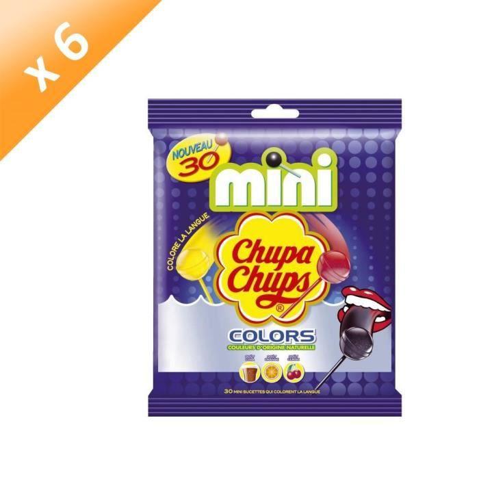 [LOT DE 6] CHUPA CHUPS Mini Sucettes Colors, goûts assortis - 30x 6 g