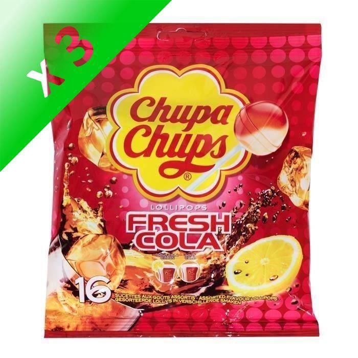 [LOT DE 3] CHUPA CHUPS Sucettes Lollipops Fresh Cola, goûts assortis - 192 g