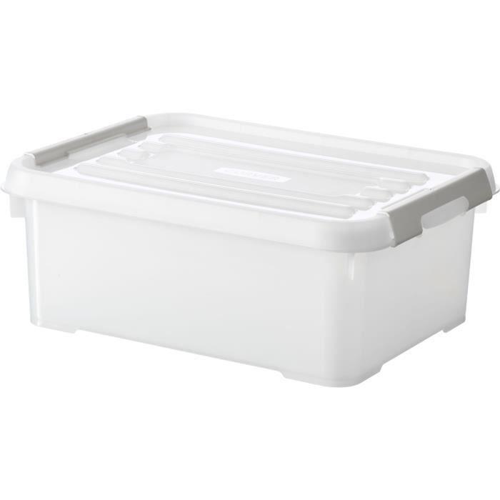 CURVER - Handy box - Plus 12L + clips gris avec couvercle 100% recyclée