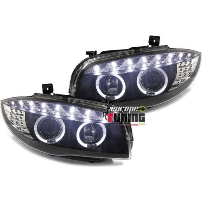 PHARES FEUX AVANTS ANGEL DEVIL EYES LED NOIRS BMW SERIE 1 E81 E82 E87 E88 2004-2011 (04205)