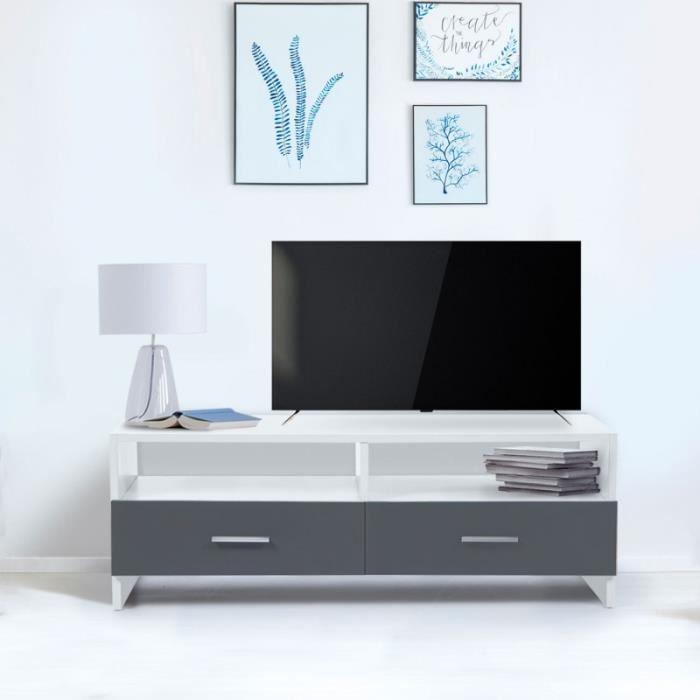 ID MARKET - Meuble TV FALKO bois blanc et gris