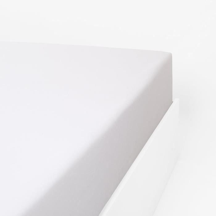 LINANDELLE - Drap housse coton 57 fils en molleton flanelle TOUDOUX - Blanc - 90x190 cm