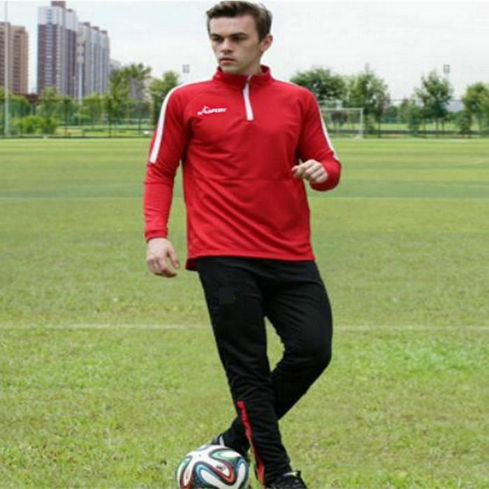 Survetement Ensemble Hommes Football Kit Entrainement Vetement Sport Maillot de Foot Rouge et Pantalon Bleu Foncé XL