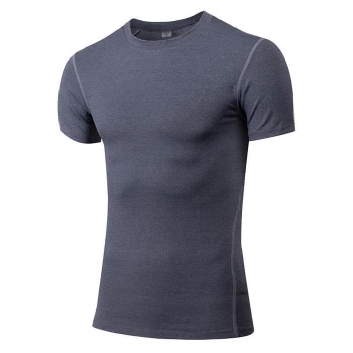 Hommes Manche Courte Performance T-shirt Musculation Bodybuilding Fitness Gym S Gris