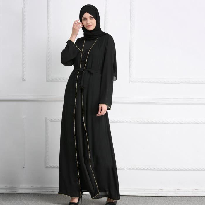 Été musulman chaud Rrilling perles mode perles brodées robes amples