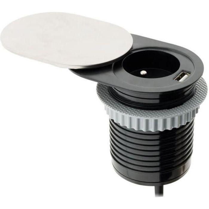OTIO Bloc prise encastrable compact à glissière avec port USB
