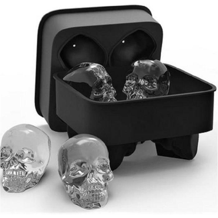 Panlom® 3D Tête de Mort Moule Bac en Silicone pour Glaçon de Whisky Cocktails Halloween- 5 x 6,3 cm