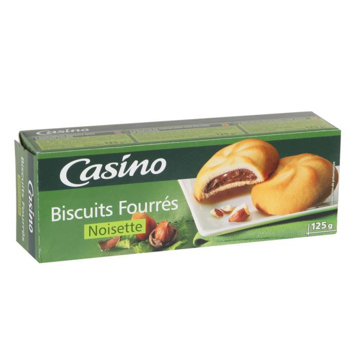 CASINO Biscuits fourrés à la noisette - 125 g