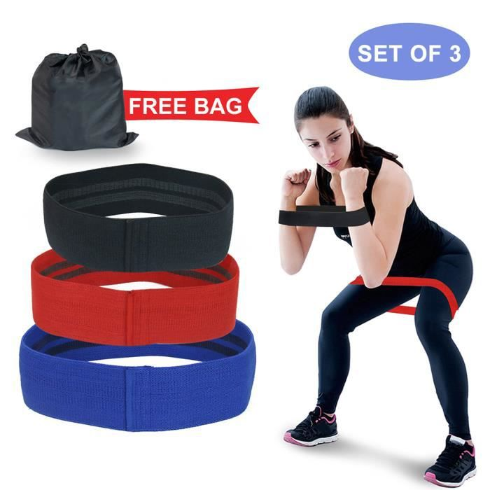 SURENHAP 3PCS Ceintures Élastique Bandes de Résistance sportive ceintures de yoga élastiques bandes extensibles avec sac C