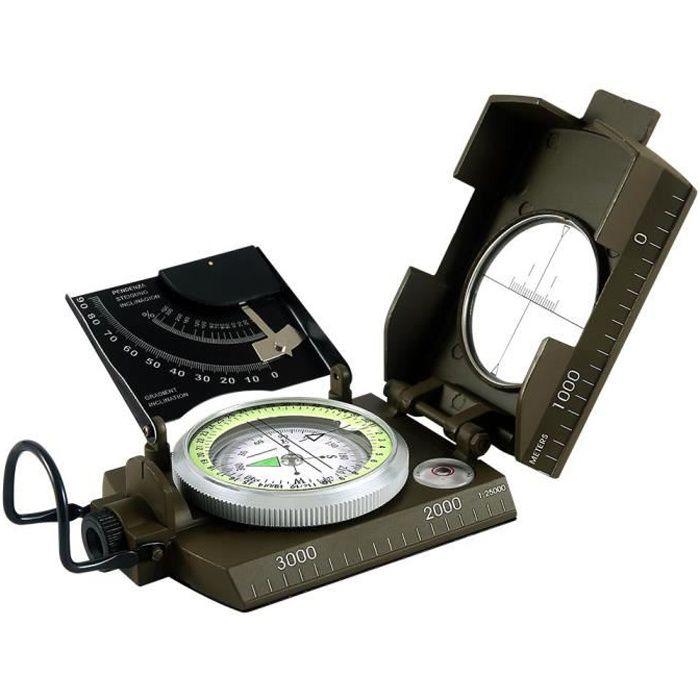 WINNES Boussole Militaire Professionnelle, Boussole en Métal Compas de Visée Fluorescent pour Aventure/Camping/Course d'Orientation