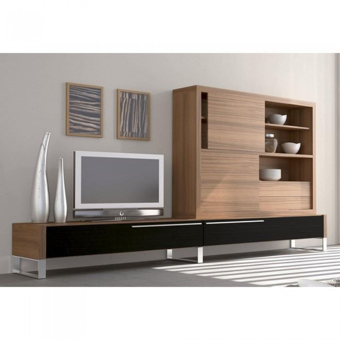 meuble mural tv nogal couleur noyer mati re m l achat vente meuble tv meuble mural tv nogal. Black Bedroom Furniture Sets. Home Design Ideas
