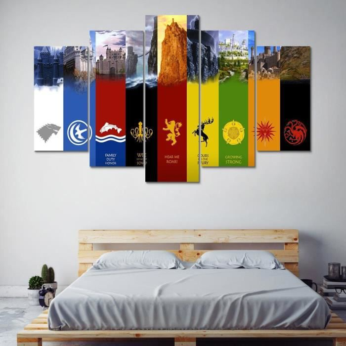 pas de cadre 5 pi ces d coration de mur de toile art photos peinture 5 panneau game of thrones. Black Bedroom Furniture Sets. Home Design Ideas