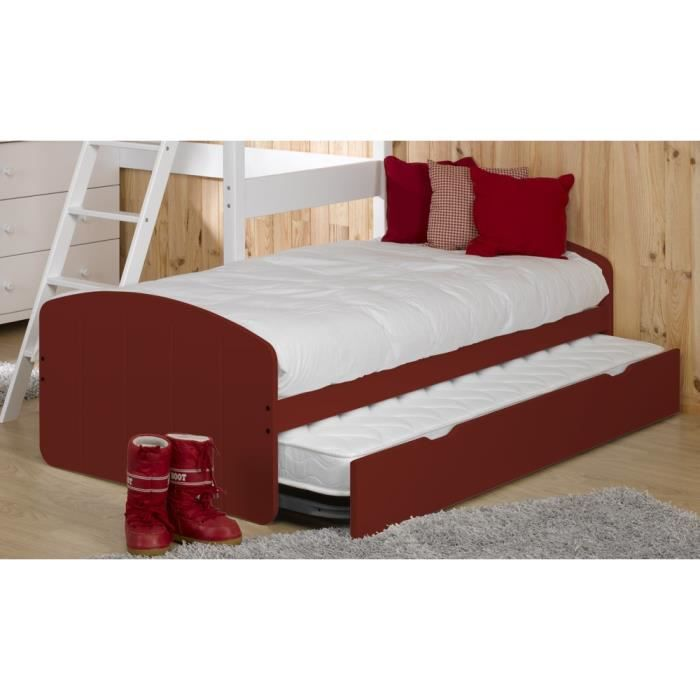 pack lit gigogne rouge 2 matelas adulte achat vente lit gigogne pack lit gigogne 2. Black Bedroom Furniture Sets. Home Design Ideas