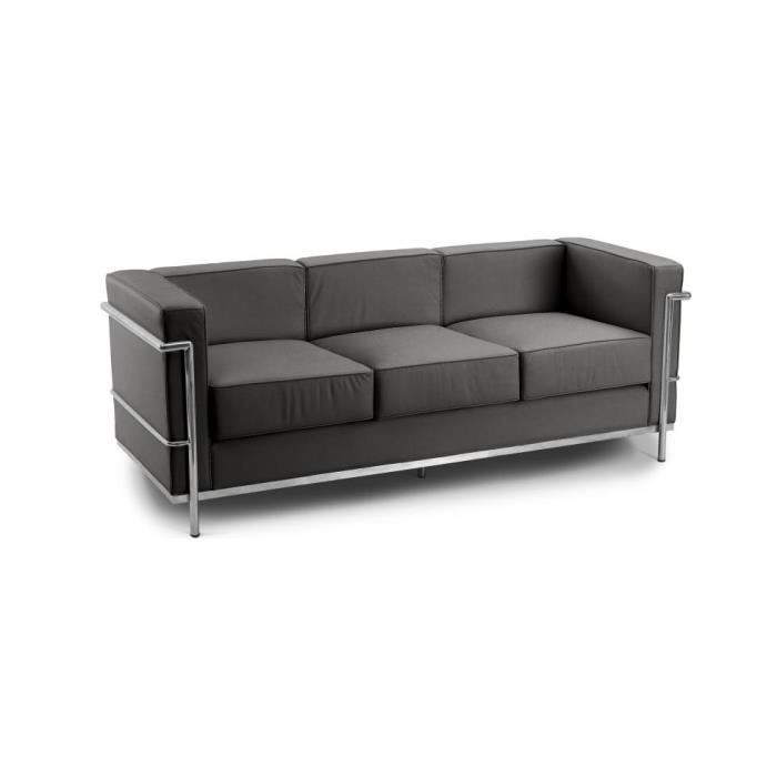 canap design lc2 inspir charles le corbusier 3 p achat vente canap sofa divan cdiscount. Black Bedroom Furniture Sets. Home Design Ideas