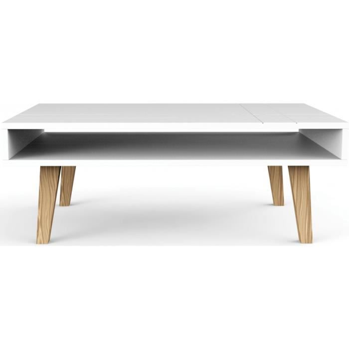 Table basse scandinave blanche double plateau achat for Meuble scandinave table basse