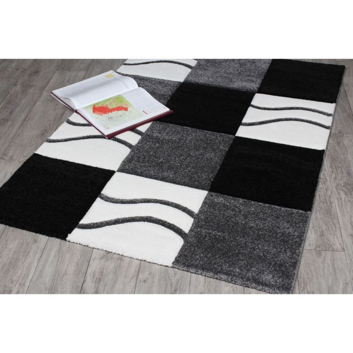 tapis noir et blanc manil 115 x 160 achat vente tapis. Black Bedroom Furniture Sets. Home Design Ideas