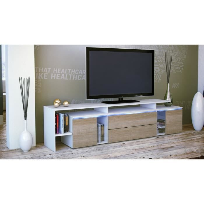 meuble tv blanc bois brut 187 x 47 x 35 cm achat vente meuble tv meuble tv cdiscount. Black Bedroom Furniture Sets. Home Design Ideas