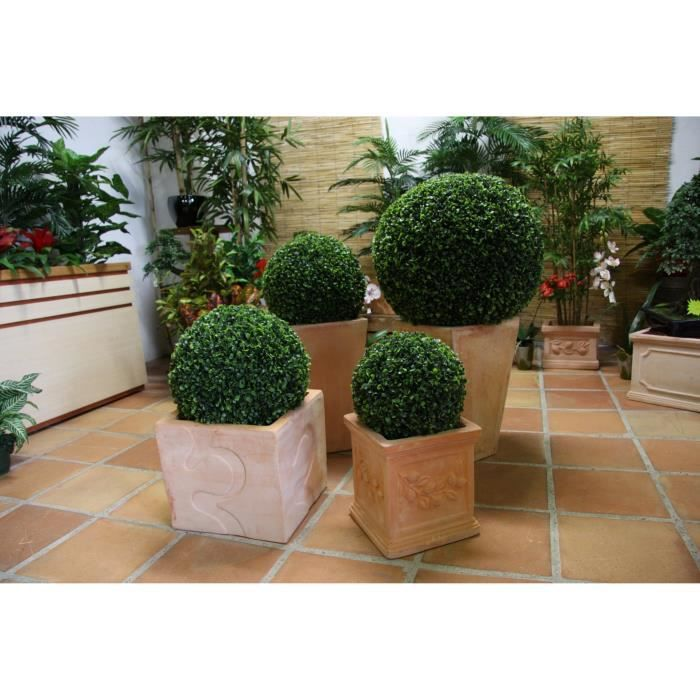 Boule de buis artificielle 55 cm lot de 2 achat for Arbre artificiel exterieur pas cher