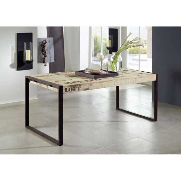 TABLE À MANGER SEULE Table à manger industrielle 220x100cm - Bois massi