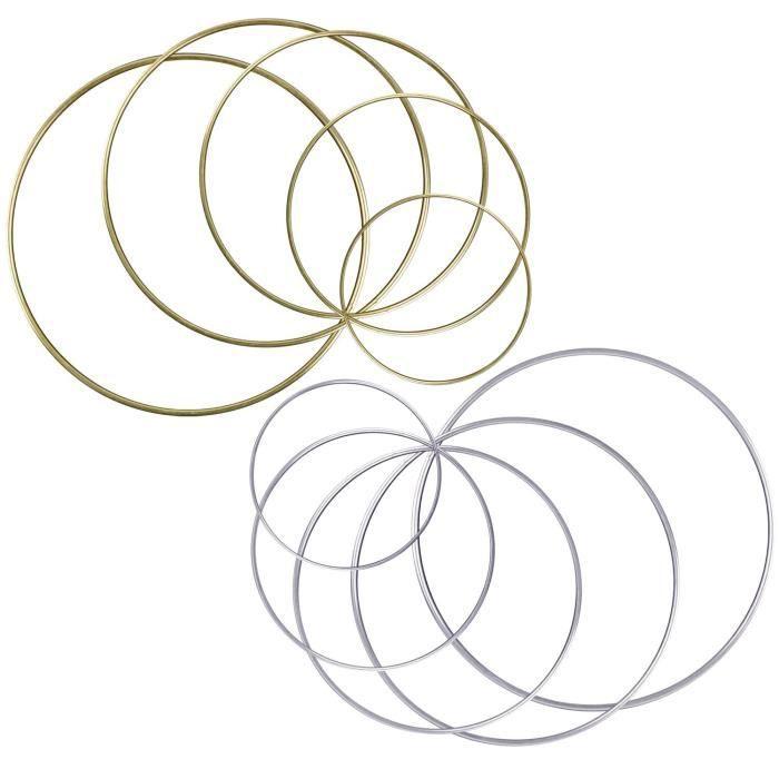 5 Tailles d/'Argent 10 Pi/èces Bague en M/étal Macrame pour Attrapeur de R/êves