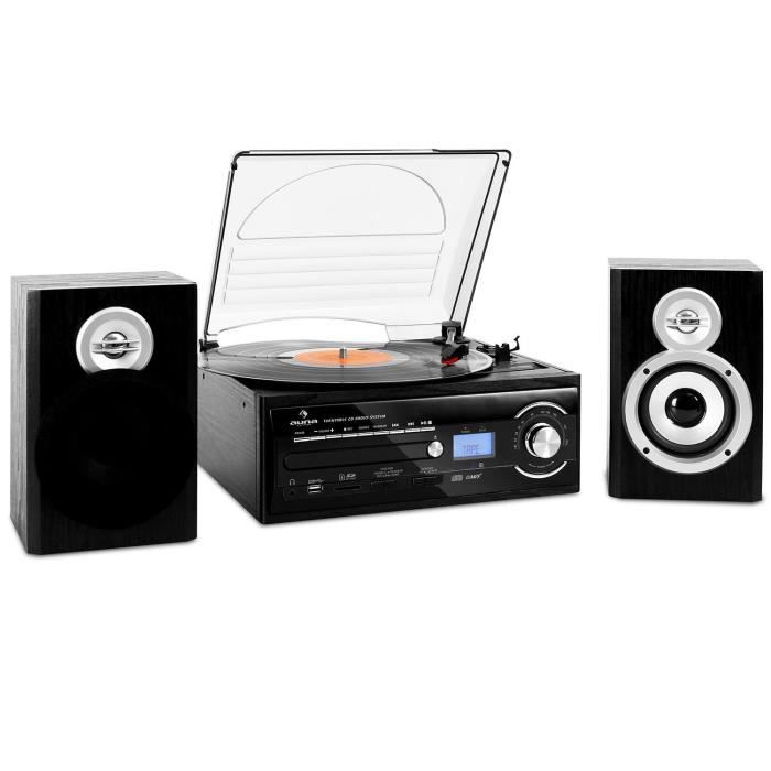 auna tt 190 cha ne hifi stereo compacte avec platine vinyle ports usb sd lecteur cd k7. Black Bedroom Furniture Sets. Home Design Ideas