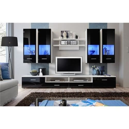 Meuble tv blanc mural id es de d coration et de mobilier for Meuble mural audio video