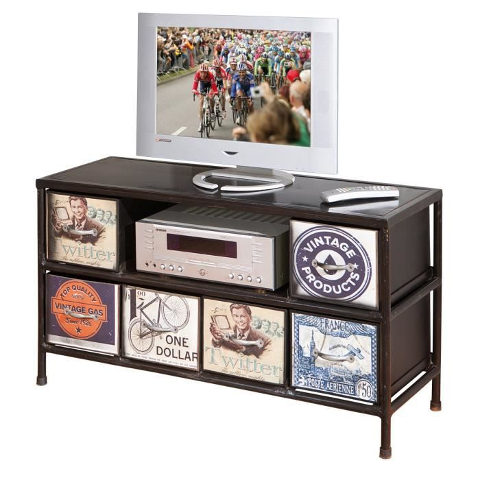 meuble tv salon rangement commode console 2 tir achat vente meuble tv tv rack virando 6. Black Bedroom Furniture Sets. Home Design Ideas