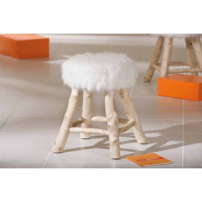 tabouret boris assise peluche blanc achat vente tabouret polyester acrylique cdiscount. Black Bedroom Furniture Sets. Home Design Ideas