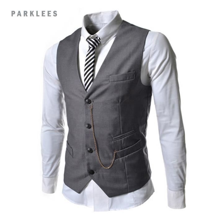 gilet costume homme slim fit veste sans manche gris. Black Bedroom Furniture Sets. Home Design Ideas