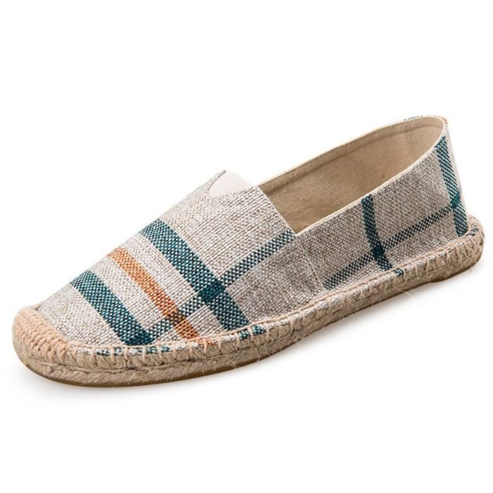 Sneaker Fashion Casual Mocassins Slip-on Chaussures en toile Espadrille Flat F2THR Taille-37