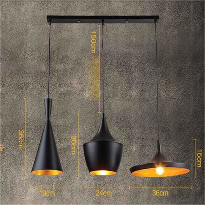stoex 3pcs e27 m tal vintage suspensions luminaire lampes retro pendentif clairage industriel. Black Bedroom Furniture Sets. Home Design Ideas