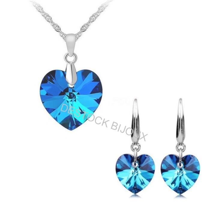 Parure Bijoux Coeur Cristal Swarovski* Bleu Argent