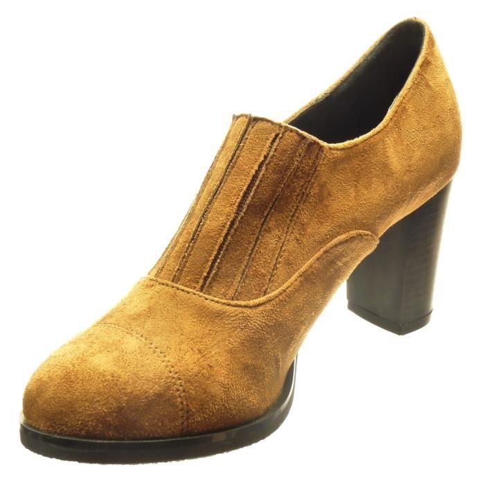 Angkorly - Chaussure Mode Bottine low boots slip-on femme lignes Talon haut bloc 7.5 CM - Camel - OT102 T 35