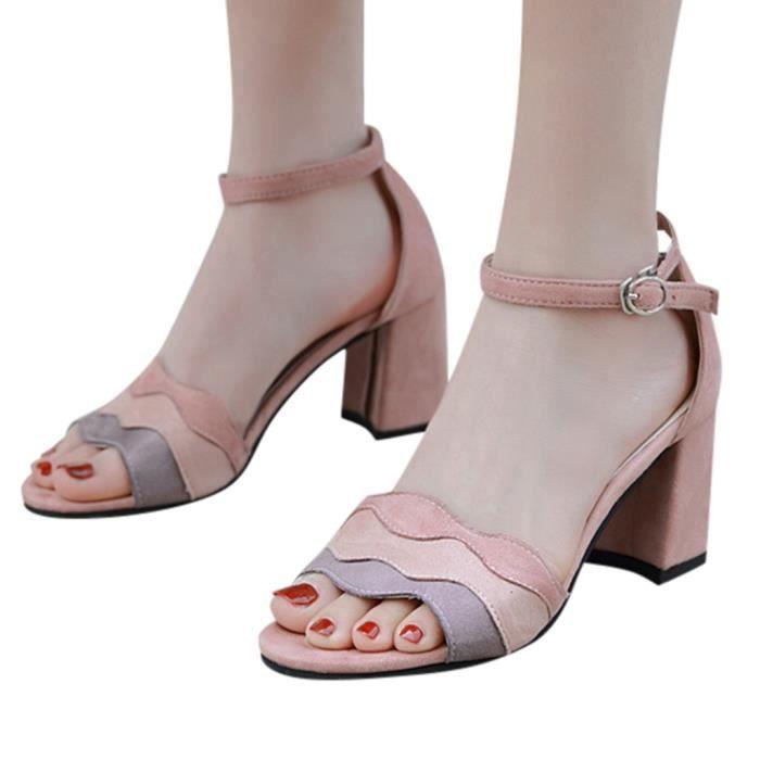 femmes d'été Sandales à bout ouvert cheville boucle match Couleur du talon épais chaussures de sport Rose