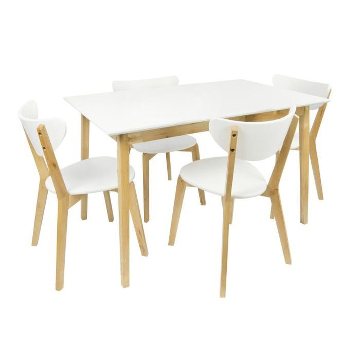 table en bois avec 4 chaises naturel table a manger achat vente table a manger complet table. Black Bedroom Furniture Sets. Home Design Ideas
