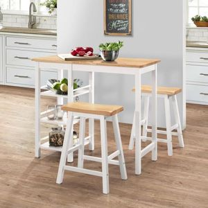 MANGE-DEBOUT Set de Bar 1 Table + 2 Tabourets en MDF avec Repos