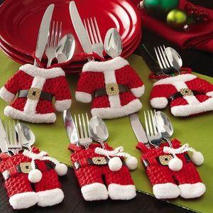 4//6 ensembles Santa Claus Noël Décoration de Table Couverts couteau fourchette titulaire poches 1//2