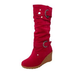 BOTTE Femmes ronde Chaussures plates hiver Toe Wedges Ép
